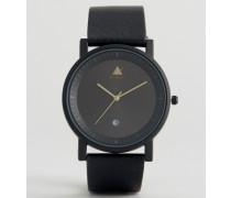 Schmale Uhr mit Datumsanzeige in Schwarz Schwarz