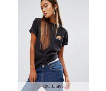 Boyfriend-T-Shirt mit ausgewaschenem Logo in Übergröße Schwarz