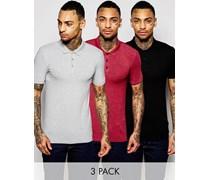Muskel-Poloshirt aus Jersey im 3er-Pack in Schwarz/Burgunderrot/Grau meliert, 15% RABATT Mehrfarbig