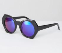 Sechseckige Sonnenbrille mit blau verspiegelten Gläsern Schwarz