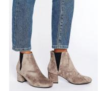 Chelsea-Stiefel mit mittelhohem Blockabsatz Steingrau