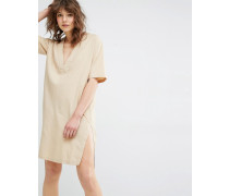 Samsoe & Samsoe Sami Safari-Kleid mit V-Ausschnitt Beige