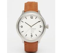 Helvetica Uhr mit breitem Lederarmband in Braun, 43 mm Braun