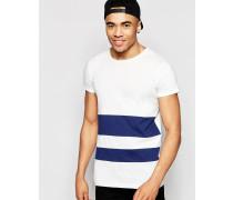 Brooklyn Supply Co Ecrufarbenes T-Shirt mit marineblauen Streifen Weiß
