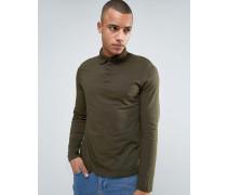 Langärmliges Jersey-Polohemd in Khaki Grün
