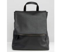 Eckiger Rucksack mit Reißverschluss vorne Schwarz
