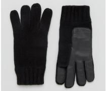 Stirling Schwarze Handschuhe aus Lammwolle mit Handinnenflächen aus Leder Schwarz