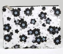 Schwarzweiße Clutch mit Blumenverzierung und Reißverschluss Mehrfarbig