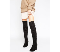 Overknee-Stiefel mit Blockabsatz Schwarz