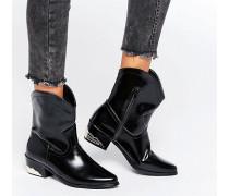 Flache Ankle-Boots im Western-Stil Schwarz