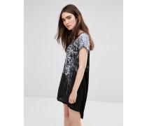 T-Shirt-Kleid mit Gittermuster Schwarz