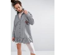 Hemdkleid mit Ginganmuster und Aufnäher Schwarz