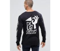 Langärmliges Shirt mit Surf-Print hinten Schwarz