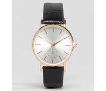 Armbanduhr mit Vintage-Riemen Schwarz