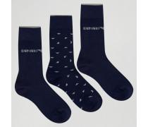 Socken im 3er-Pack in Geschenkbox Marineblau