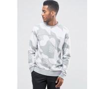 Gemustertes Sweatshirt mit Rundhalsausschnitt Grau