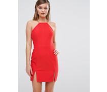 Racerneck-Kleid mit Schlitz vorne Rot