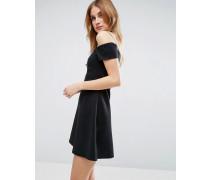 Schulterfreies Mini-Etuikleid mit Bardot-Ausschnitt Schwarz
