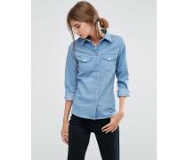 Schmal geschnittenes Jeans-Westernhemd in hellblauer Waschung Blau