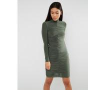 Langärmliges, anschmiegsames Kleid mit gerafften Details Grün