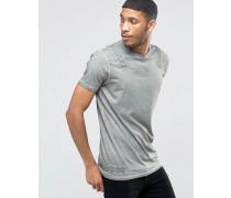 Langes T-Shirt in Khaki und Oil-Waschung mit Innenbanddesign Grün