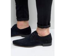 Spitze Derby-Schuhe aus Wildleder in Marineblau Marineblau