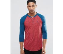 Schmales Baseball-T-Shirt mit 3/4-Ärmeln, weinrot Rot