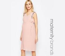 Mamalicious Verziertes Kleid mit Faltenrock Rosa