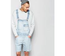 Jeans-Latzhose in gebleichter Waschung Blau