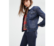 Levi's Locker geschnittene Jeansjacke mit Kragen aus Teddyfell Blau
