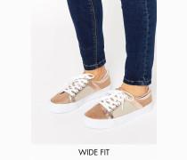 DANI Weit geschnittene Sneaker mit Netzoberfläche Beige