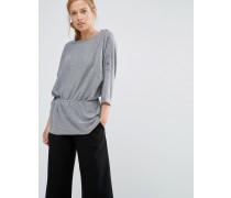 Pullover mit Kordelzug an der Taille Grau