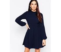 Babydoll-Kleid mit hohem Ausschnitt Marineblau