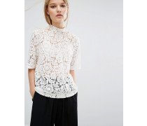 Samsoe & Samsoe Becks Short Sleeve Lace Top Weiß