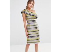 Premium Rüschenkleid mit One-Shoulder-Träger Mehrfarbig