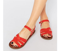 Zoe Flache Sandalen aus rotem Leder Rot