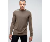Mittelbrauner Pullover mit Aufnäher Braun