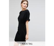 Elegantes, gewebtes Minikleid mit V-Ausschnitt hinten Schwarz