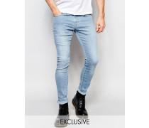 Brooklyn Supply Co Sehr enge Jeans mit Spray-on-Effekt in heller Stone-Waschung Blau