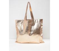 Oversize-Shopper-Tasche in Metallic-Optik Kupfer