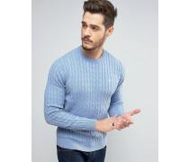 Marlow Pullover mit Zopfmuster in Blassblau Blau