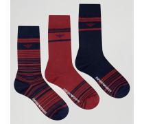 Socken im 3er-Pack in Geschenkbox Rot