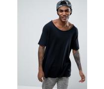 Locker geschnittenes Waffelstrick-T-Shirt in Schwarz Schwarz