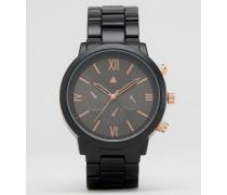 Armbanduhr in Schwarz und Roségold Schwarz