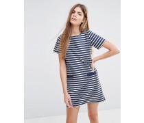 Gestreiftes T-Shirt-Kleid Marineblau