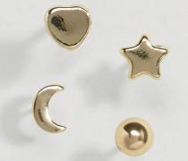 Hinna Ohrringe mit Sterne- und Monddesign Gold