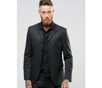 Schmal geschnittene Anzugjacke mit vier Knöpfen und Ton-in-Ton-Nadelstreifen Schwarz