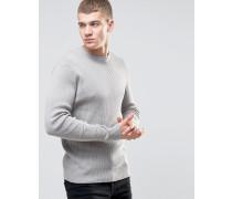 Gerippter Pullover mit Rundhalsausschnitt Grau