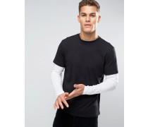 Schwarzes, mehrlagiges Shirt mit langem Arm Schwarz