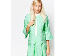 Falling Flowers Jaquard-Jacke mit Gänseblümchen Grün